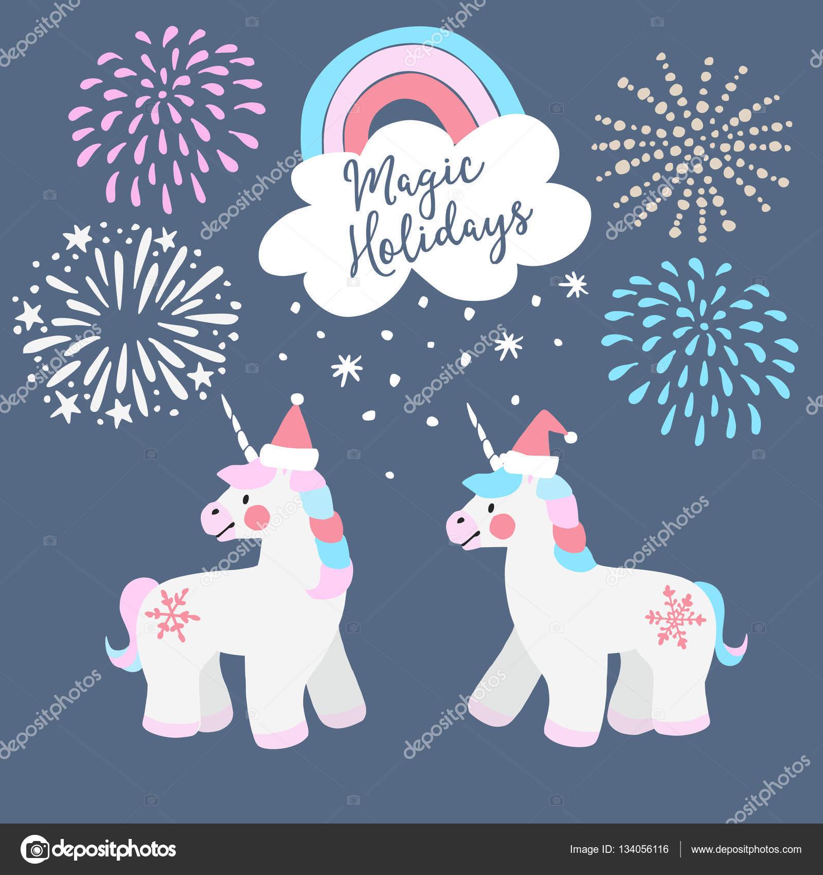 Très Jolie carte de voeux Noël, invitation. Peu de licornes avec  XH98