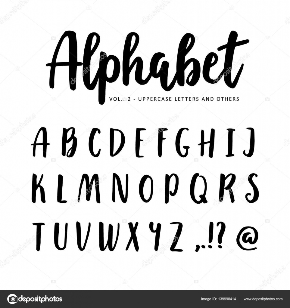 Hand Drawn Vector Alphabet Font Isolated Letters Written With Marker Or Ink Brush