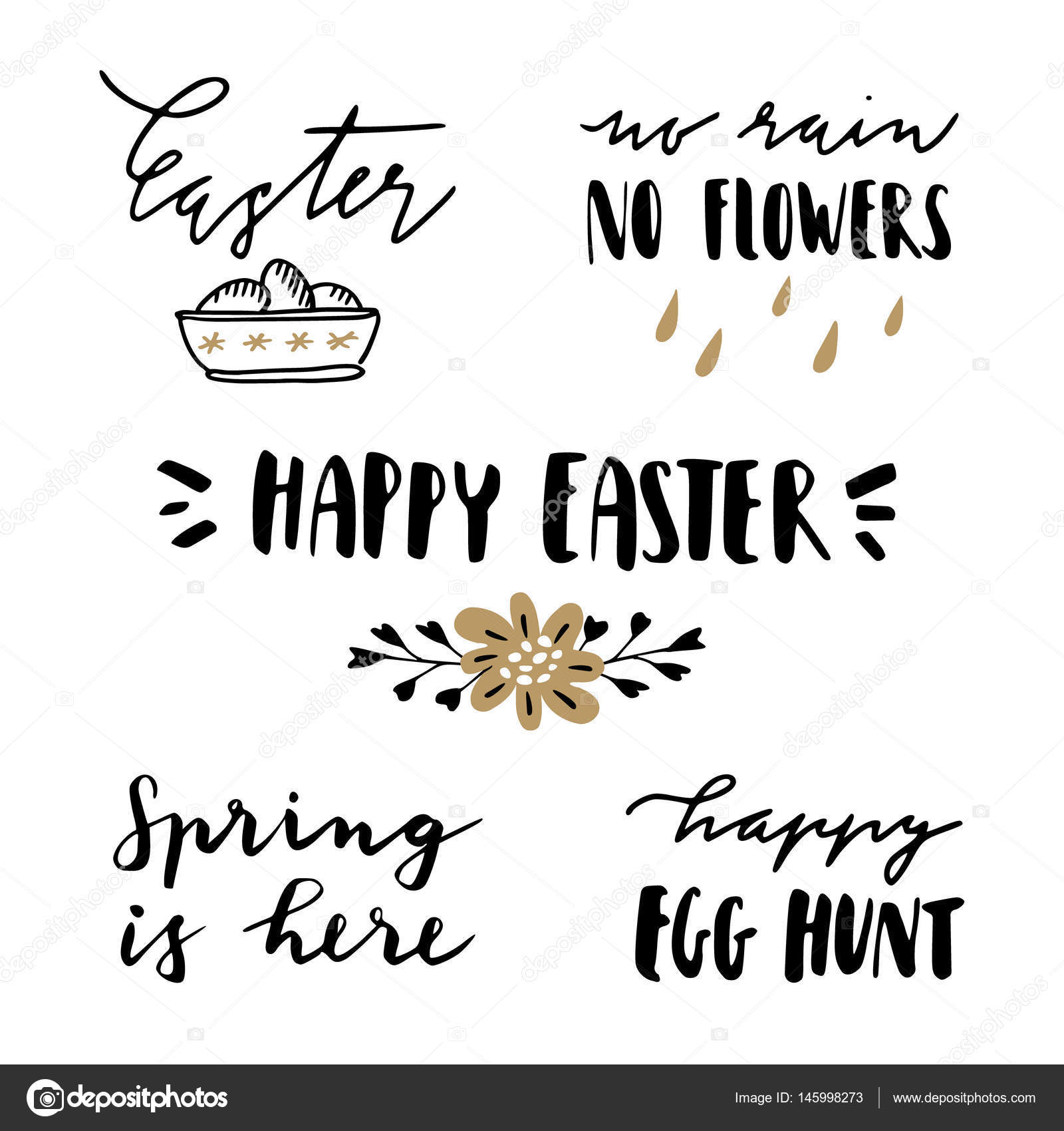 Happy easter lettering set hand written quotes for greeting cards happy easter lettering set hand written quotes for greeting cards gift tags typography negle Images