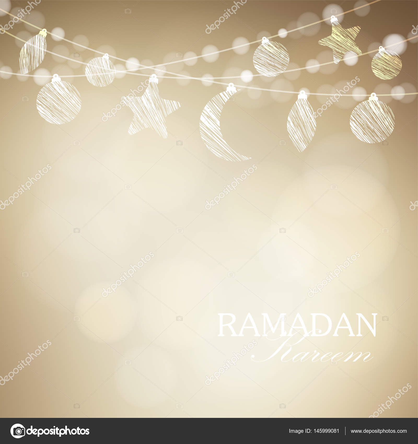 String with ornamental moon and bokeh lights golden festive vector golden festive vector illustration background card or invitation for muslim community holy month ramadan kareem vector by tabitazn stopboris Choice Image