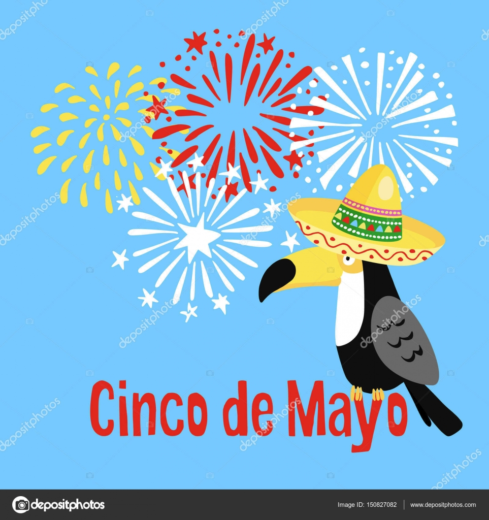 Mexican Cinco de Mayo greeting card, party invitation. Toucan bird ...