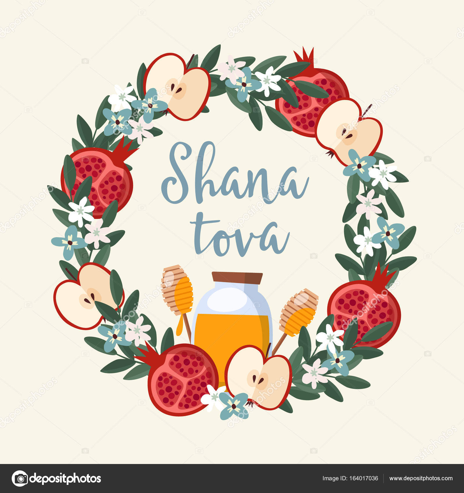 Shana tova greeting card invitation for jewish new year rosh shana tova greeting card invitation for jewish new year rosh hashanah floral wreath made kristyandbryce Choice Image