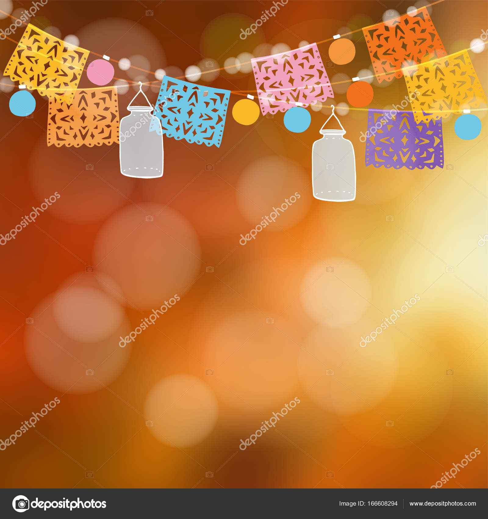 Mexican Day Of The Dead Garden Party Decoration Vector Illustration Background String Handmade Cut Colorful Flags Light Bulbs Glass Jar Lanterns