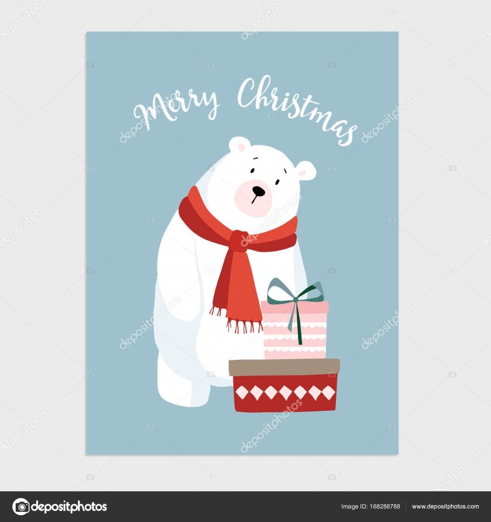 Leuke Kerstkaart Uitnodiging Met Hand Getrokken Ijsbeer Met