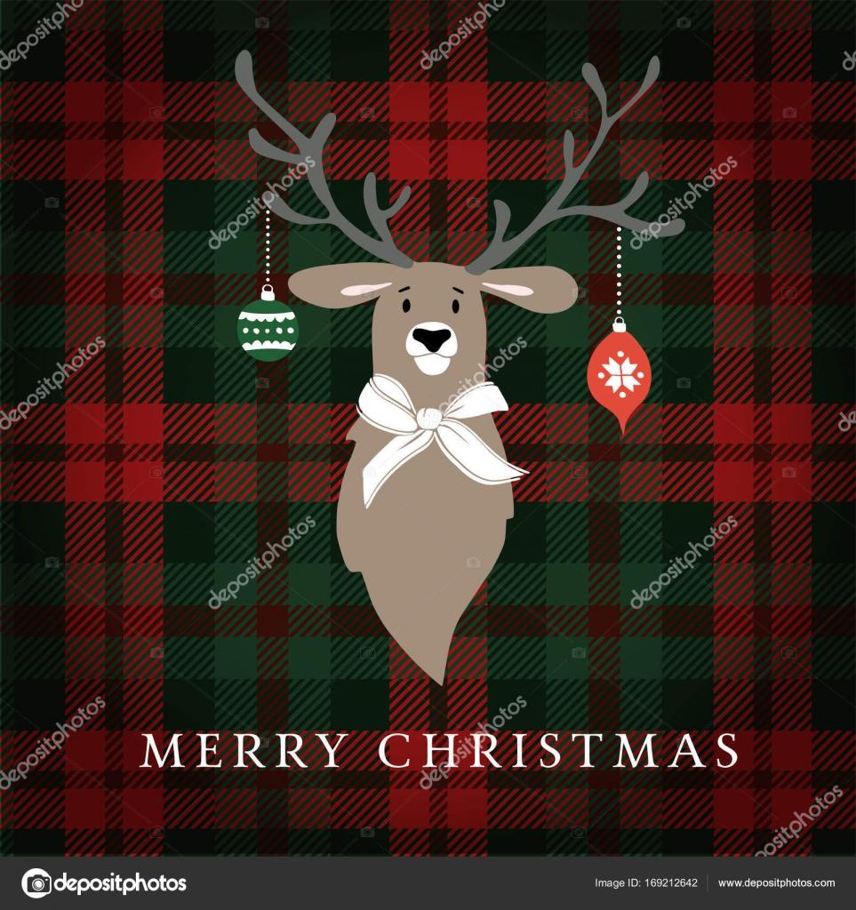 Christbaumkugeln Kariert.Frohe Weihnachten Grusskarte Einladung Rentier Mit