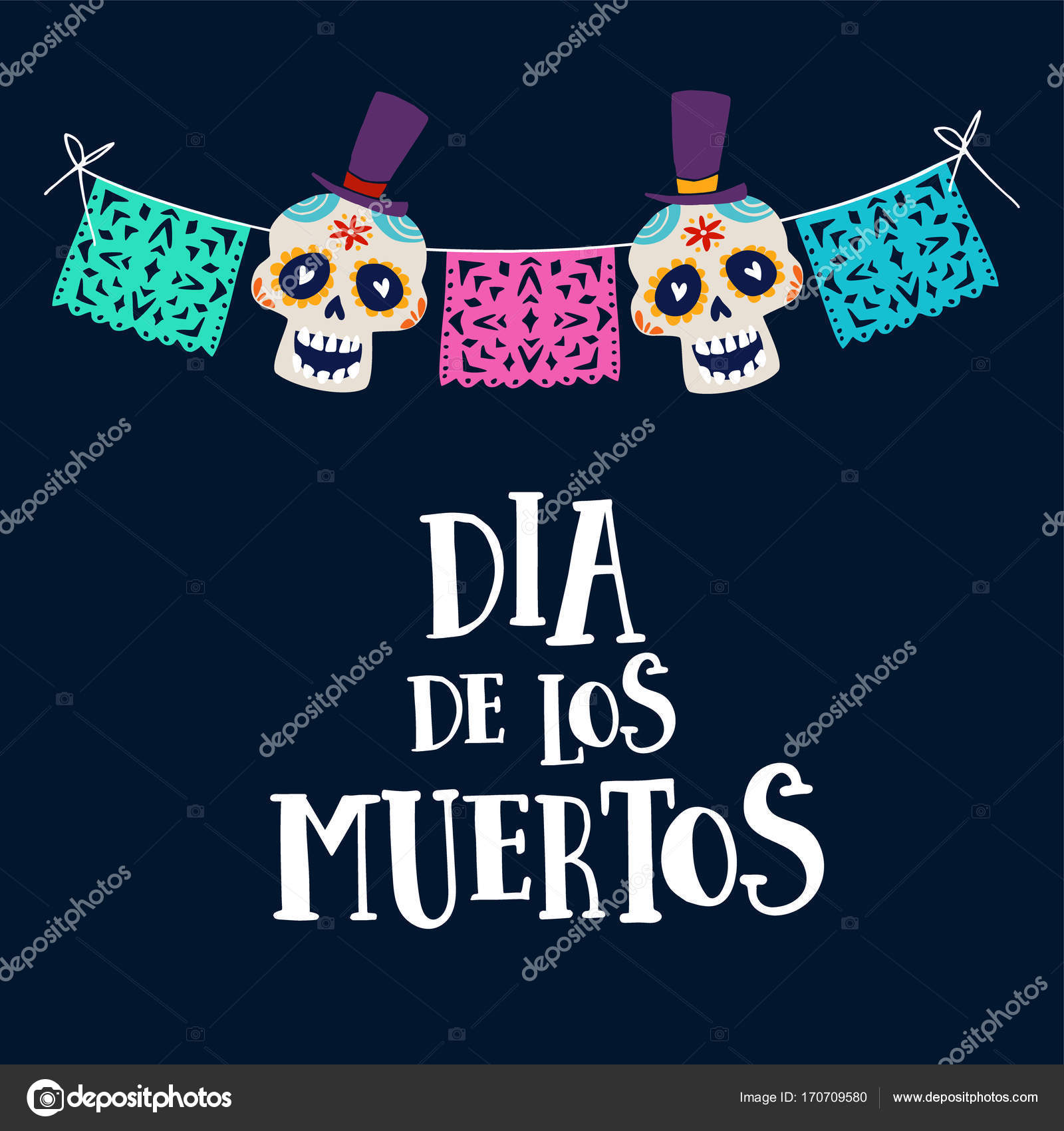 Dia de los muertos greeting card invitation mexican day of the dia de los muertos greeting card invitation mexican day of the dead string decoration with party flags and ornametal sugar sculls hand drawn vector m4hsunfo
