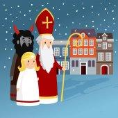 Roztomilý Svatý Mikuláš, anděl, čert, staré měšťanské domy a padající sníh. Vánoční pozvánka, vektorové ilustrace, zimní pozadí
