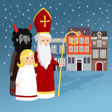 Cute Saint Nicholas with angel, devil, old town houses and falling snow. Christmas invitation card, vector illustration, winter background