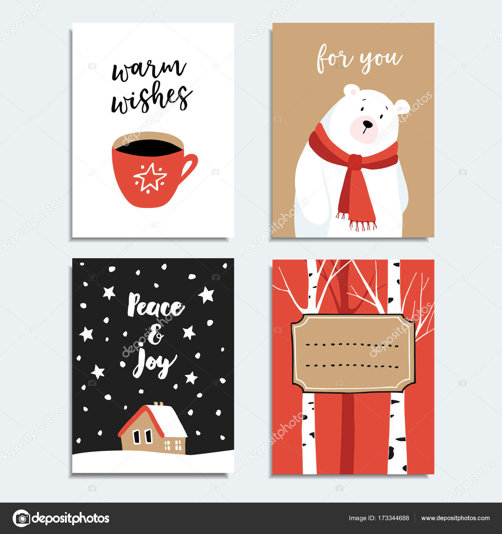 Set of hand drawn Christmas greeting cards, invitations with polar ...