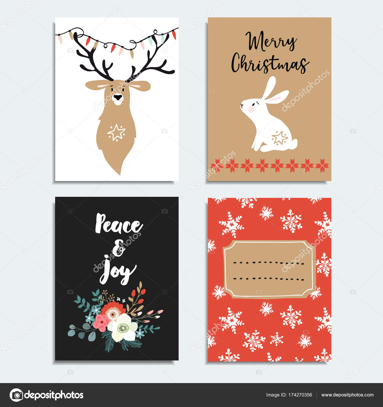 Set of hand drawn christmas greeting cards invitations with bunny set of hand drawn christmas greeting cards invitations with bunny deer snowflakes and m4hsunfo