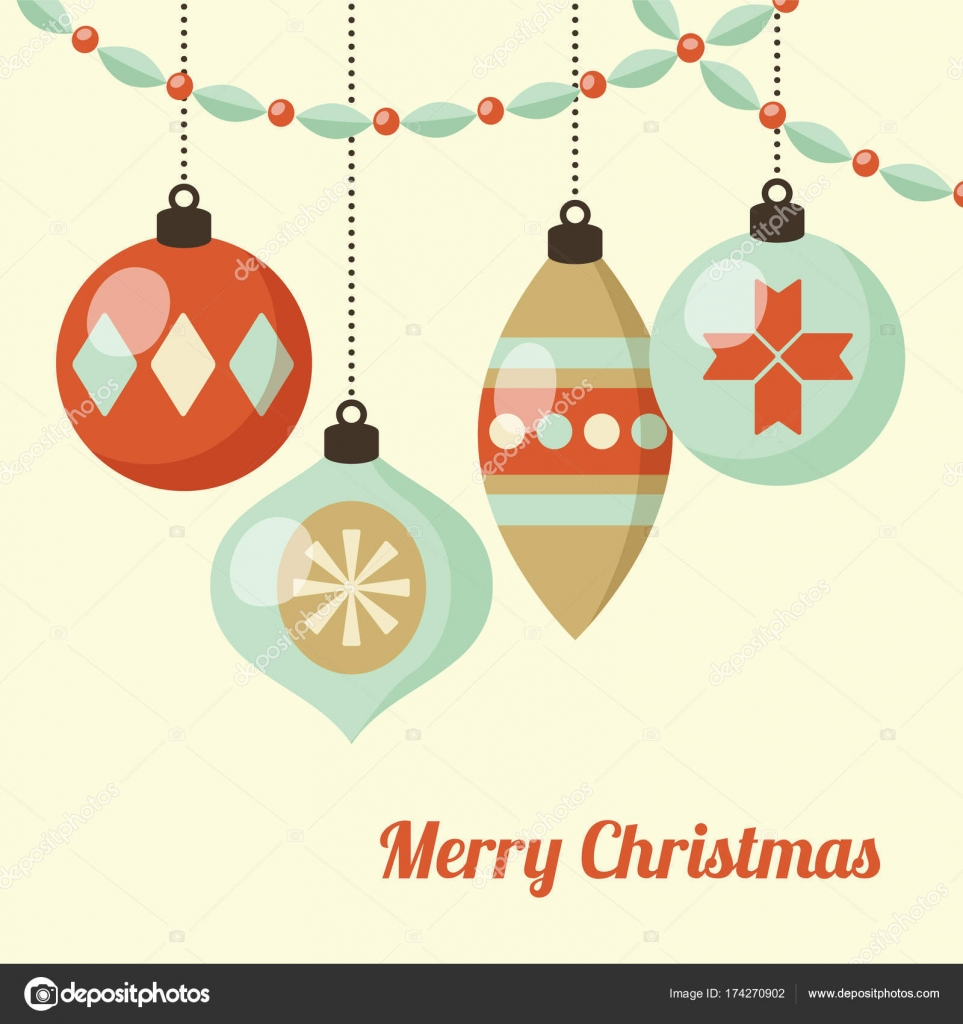 Retro Christmas card with hanging Christmas balls, ornaments. Vector ...