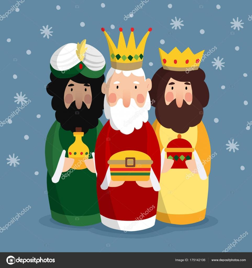 Cute Christmas Greeting Card Invitation With Three Magi Biblical