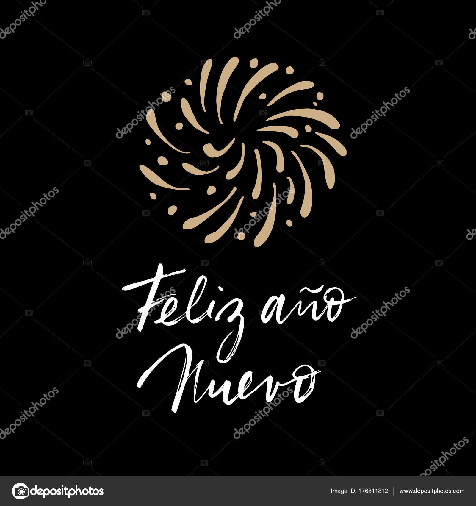 Feliz Ano Nuevo Spanish Happy New Year Greeting Card With
