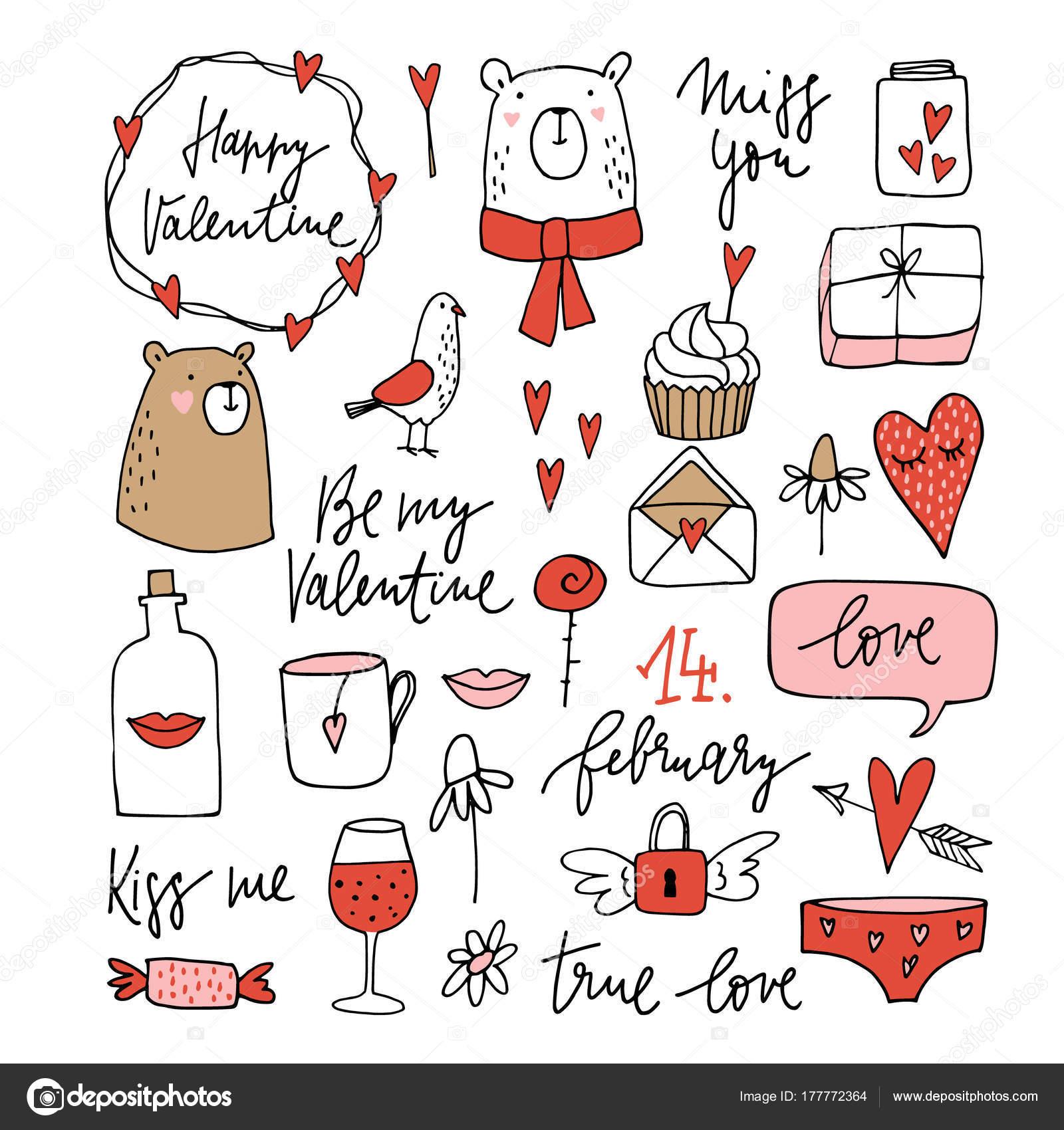 バレンタイン落書き、スケッチのかわいいセットします。クマのクリップ
