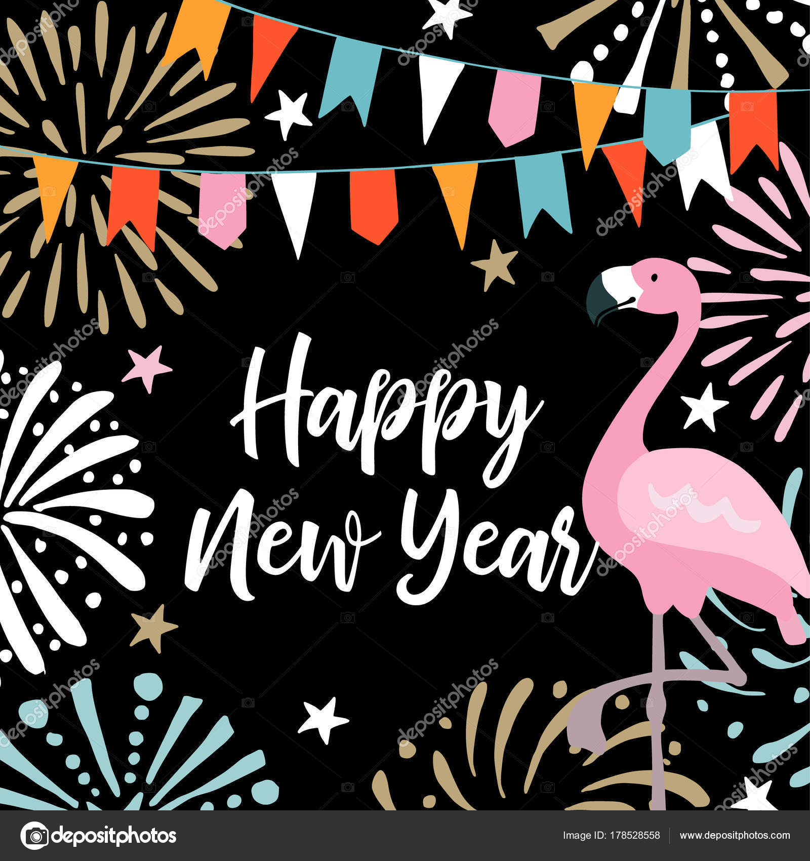 happy new year greeting card invitation with hand drawn fireworks flags and flamingo bird birthday party decoration vector illustration background