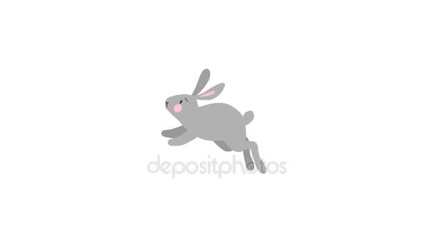 2D animation of running cute grey rabbit, bunny isolated on white background. Spring, Easter concept. Loopable HD footage.