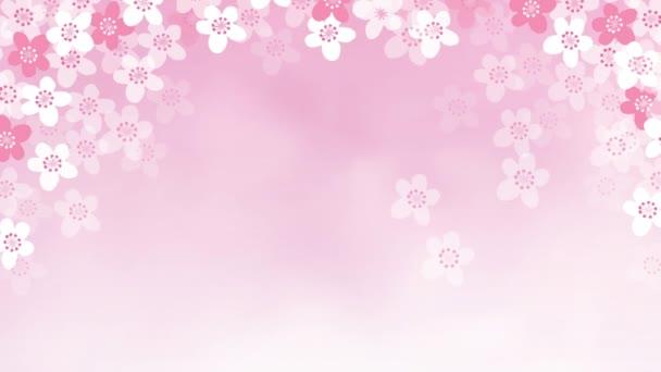 2D-s animáció alá cherry tree virágok. Tavaszi, húsvéti koncepció. Loopable Hd felvétel