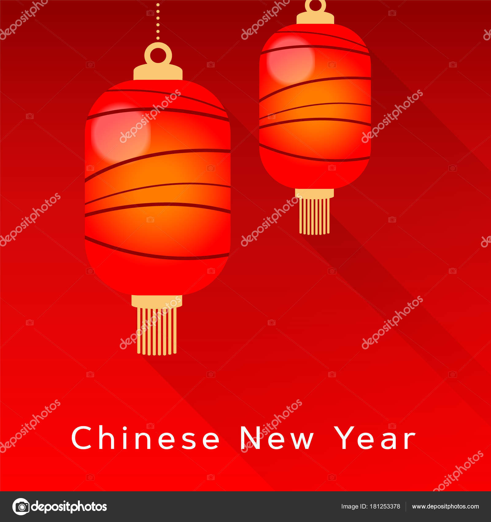 chinese new year greeting card invitation with hanging red lanterns asian party decoration vector illustration background modern design with long