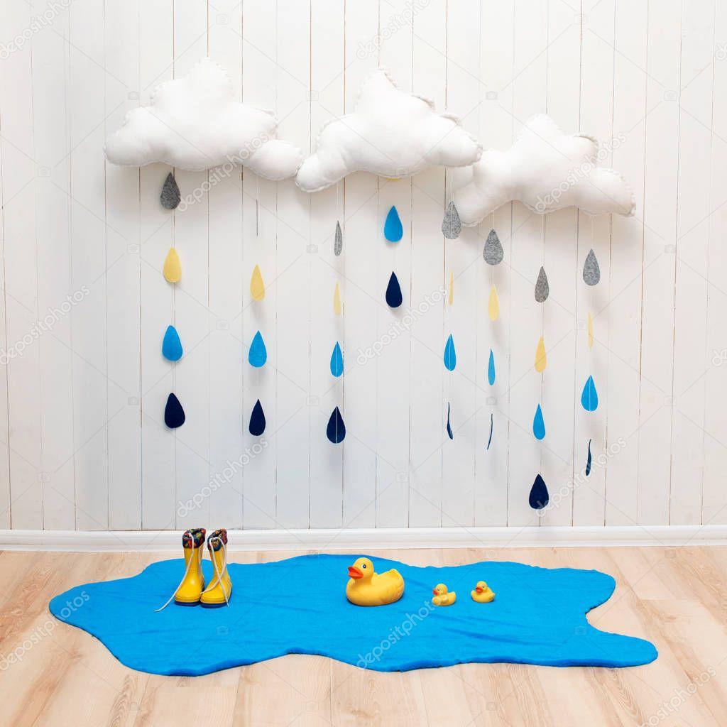 S Mbolos De Tempo Nuvens De Decora O Artesanais Quarto Com Gotas  ~ Artesanato Para Decoração De Quarto
