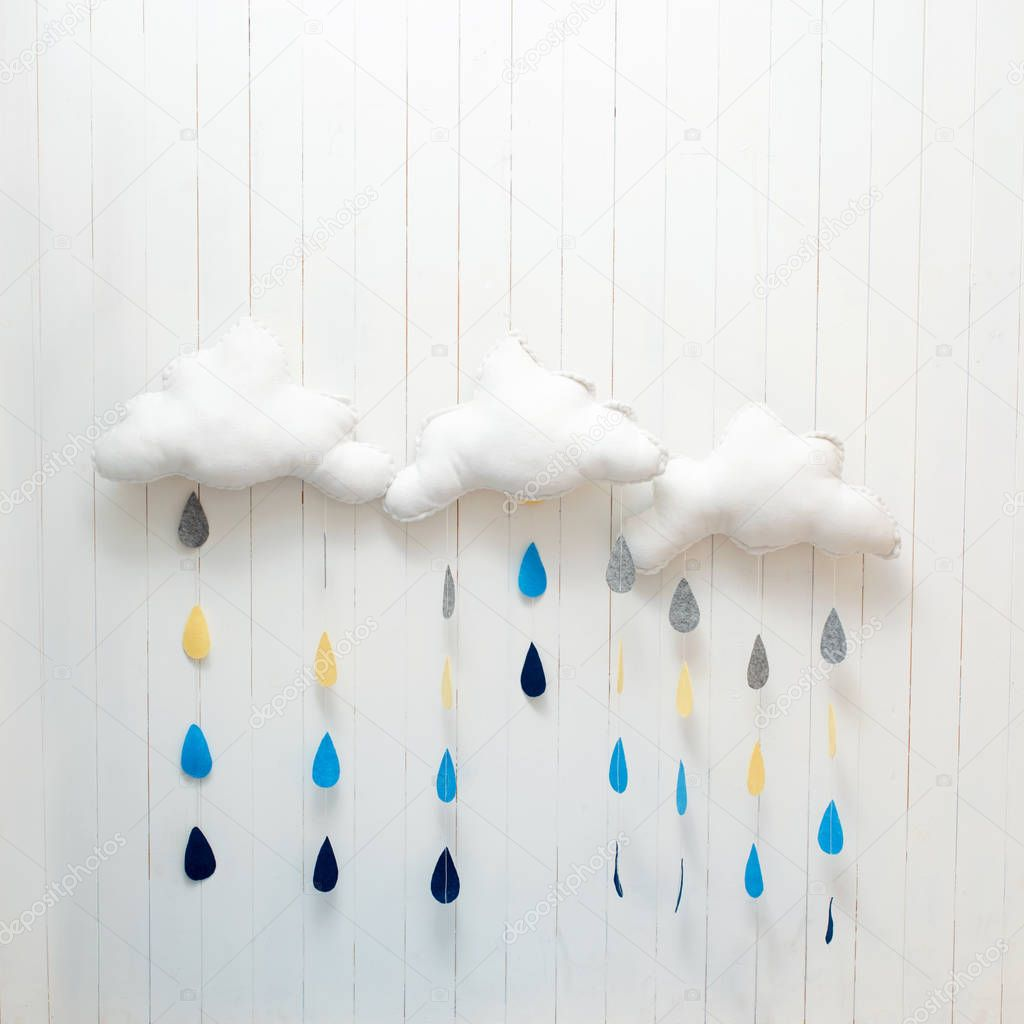 Exceptional Handmade Room Decoration Clouds With Rain Drops U2014 Stock Photo