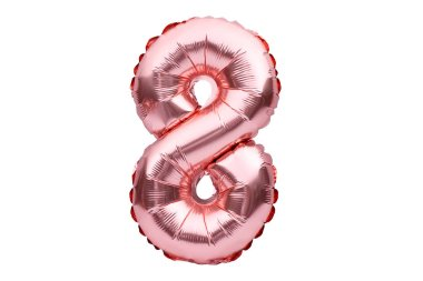 Number 8 eight, made of rose golden inflatable helium balloon. Gold pink foil balloon font part of full set of numbers, isolated on white. Birthday party celebration, sales and discounts concept