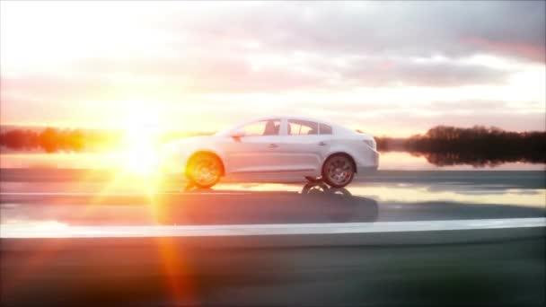 Luxury white car on highway, road. Very fast driving. Wonderful sunset. Travel and motivation concept. Realistic 4k animation