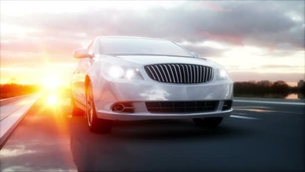 Luxusní bílé auto na dálnici, silnice. Velmi rychlá jízda. Nádherný západ slunce. Cestovní a motivační koncept. Realistická animace 4k