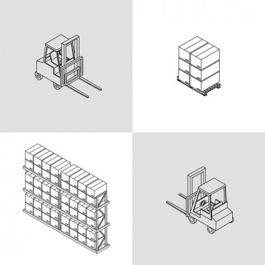 icons isometric forklift and pallets with boxes
