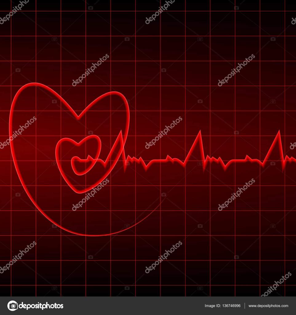 Cardiogramma Con Contorni Di Cuore Rosso Su Sfondo Nero Vettoriali