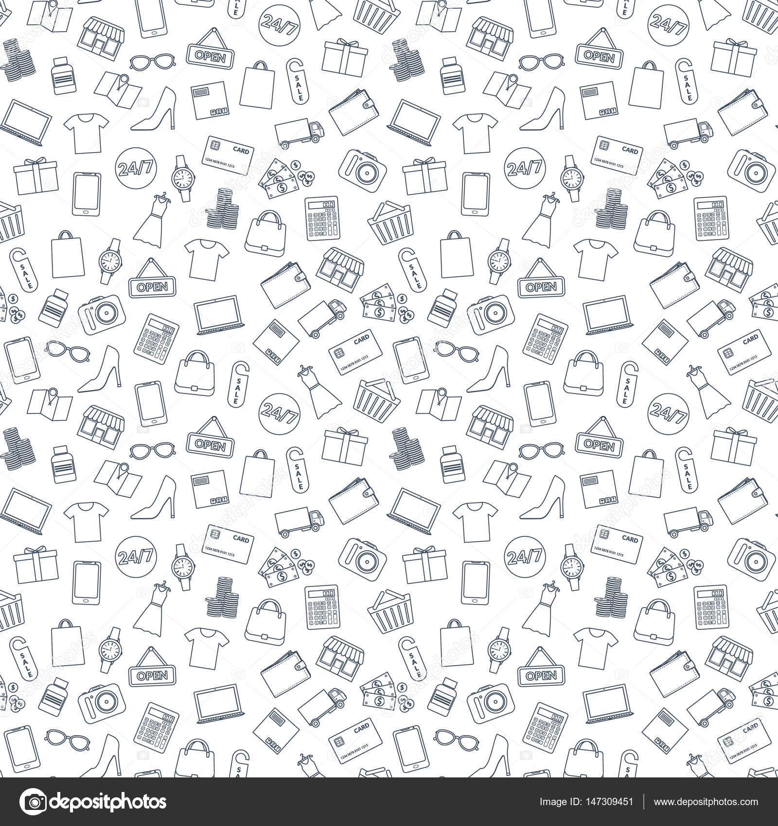 ca593b0742 Set of icons for online shop. Seamless background. Design for packaging,  banners, business cards. — Vector by kalen