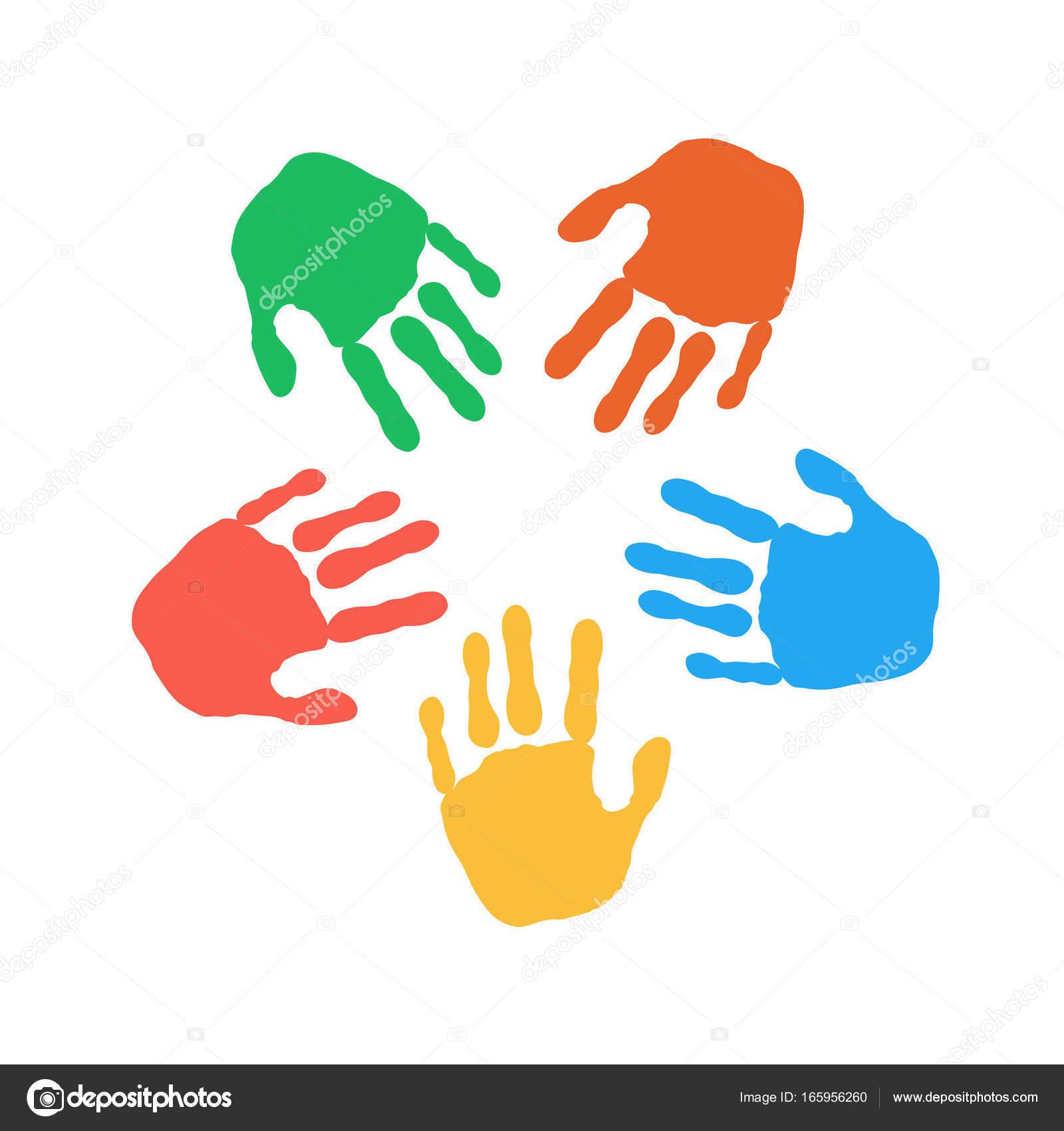 bunte Hand druckt auf weißem Hintergrund — Stockvektor © kalen ...