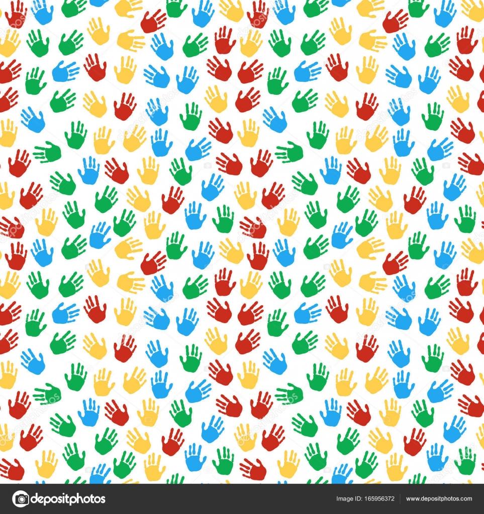 a12b3e61fd Seamless pattern di stampe colorate delle mani — Vettoriali Stock ...