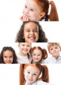 koláž šťastných multietnických dětí izolovaných na bílém