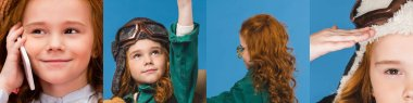 collage of redhead kid in pilot costume talking on smartphone and posing isolated on blue