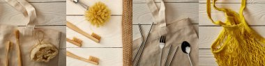 collage of reusable string bag, wooden toothbrushes, loofah, metallic chopsticks, spoon, fork, and straws, eco friendly concept