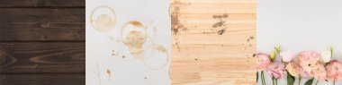 collage of wooden backgrounds, coffee stains and pink flowers