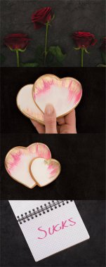collage of red roses, woman holding pink hearts and notebook with sucks lettering on black