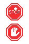 Coronavirus rot keine Zeichen mit Stop-Wort und Hand isoliert auf weiß