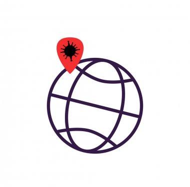 Red location mark with coronavirus molecule on globe isolated on white stock vector