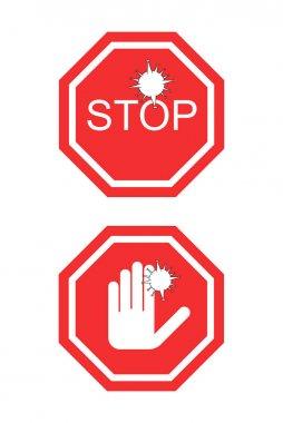 Coronavirus kırmızısı. Durma sözcüğü ve elle beyaza izole edilmiş bir işaret yok.