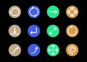 šipky v pestrobarevných kruzích a různé směry izolované na černé