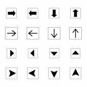 šipky v černé čtverce v různých směrech izolované na bílém