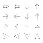 black dotted line arrows in different directions isolated on white