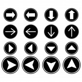 arrows in black circles in different directions isolated on white
