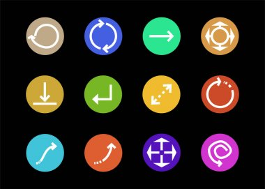 Arrows in multicolored circles and different directions isolated on black stock vector