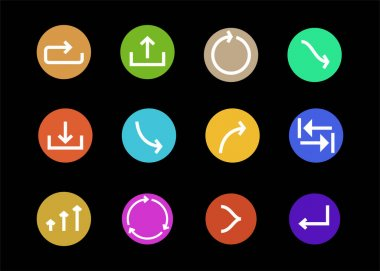 Arrows in multicolored circles and different directions isolated on black clip art vector