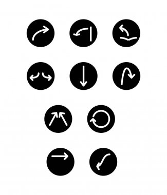 White arrows in black circles in different directions isolated on white stock vector