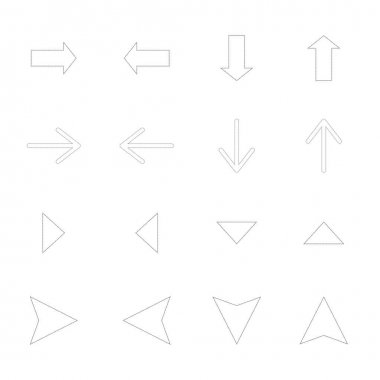 Arrows in different directions isolated on white stock vector