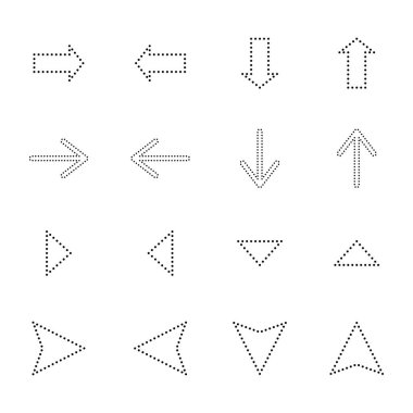 Black dotted line arrows in different directions isolated on white stock vector