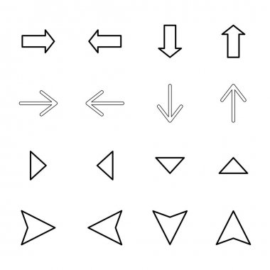 Black arrows in different directions isolated on white stock vector